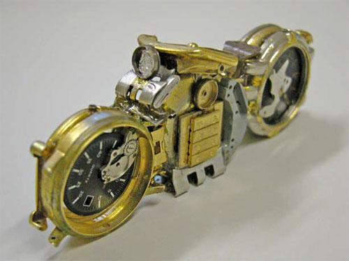 Bike Sculptures Using Recycled Watches